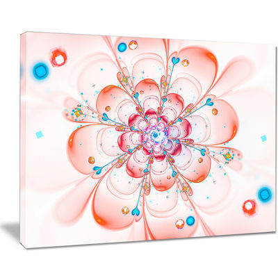 Designart Pink Fractal Flower Petals Close Up Floral Canvas Art Print