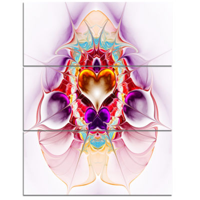 Designart Pink Large Symmetrical Fractal Heart Abstract Wall Art Triptych Canvas