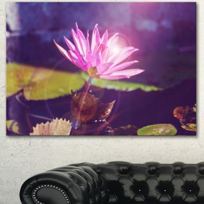 Designart Pink Lotus Flower On Blue Background Floral Canvas Art Print