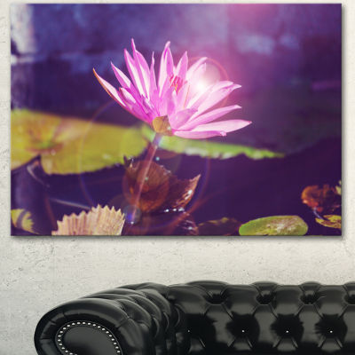 Designart Pink Lotus Flower On Blue Background Floral Canvas Art Print - 3 Panels
