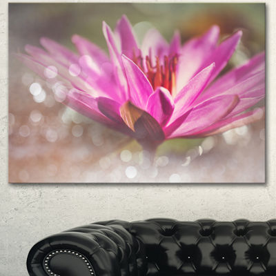 Designart Pink Lotus On Abstract Background FloralCanvas Art Print - 3 Panels
