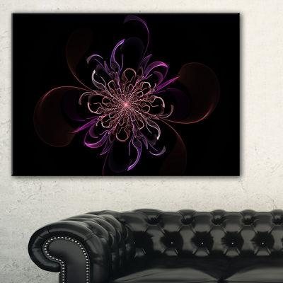 Designart Pink Rounded Fractal Flower In Black Floral Canvas Art Print
