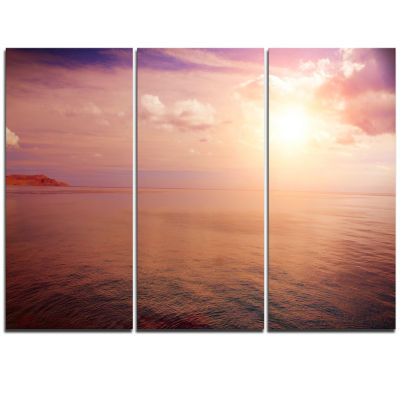 Design Art Pink Sky Over Dark Beach At Sunset LargeSeashore Triptych Canvas Print