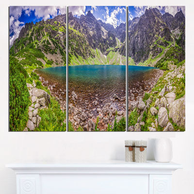 Designart Pond In Middle Of Mountains Panorama Landscape Triptych Canvas Art Print