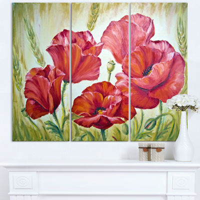 Designart Poppies In Wheat Large Floral Wall ArtTriptych Canvas
