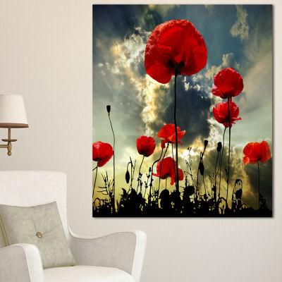 Designart Poppies On Thunderstorm Background Floral Canvas Art Print - 3 Panels
