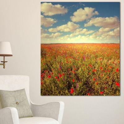 Designart Poppy Filed Under Bright Sky Floral Canvas Art Print