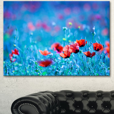 Designart Poppy Flowers Field At Night Floral Canvas Art Print