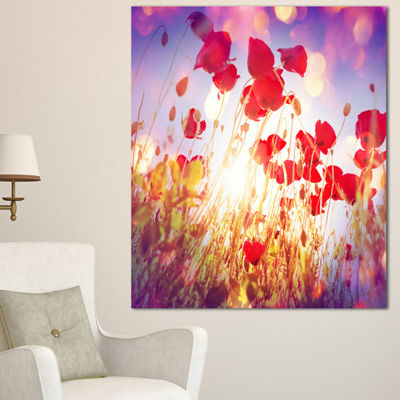 Designart Poppy Flowers On Blue Background Large Flower Canvas Art Print