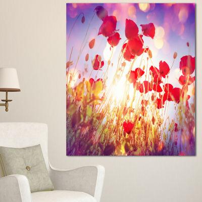 Designart Poppy Flowers On Blue Background Large Flower Canvas Art Print - 3 Panels
