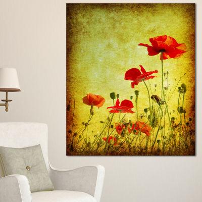 Designart Poppy Flowers On Grunge Background Floral Canvas Art Print