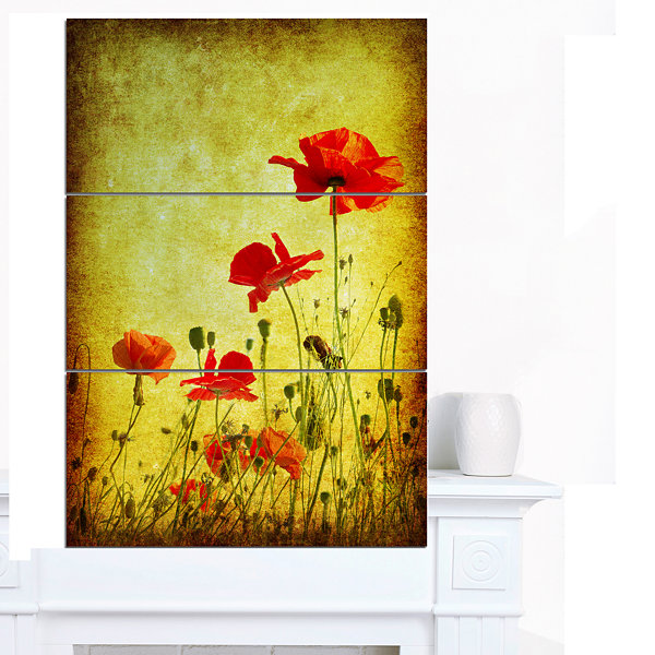 Design Art Poppy Flowers On Grunge Background Floral Canvas Art Print - 3 Panels