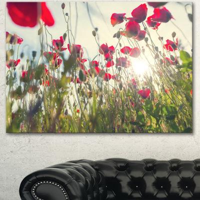 Design Art Poppy Flowers On Summer Meadow Floral Canvas Art Print - 3 Panels