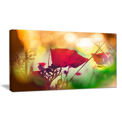 Designart Poppy Flowers With Bokeh Background Floral Canvas Art Print