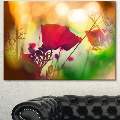 Designart Poppy Flowers With Bokeh Background Floral Canvas Art Print - 3 Panels