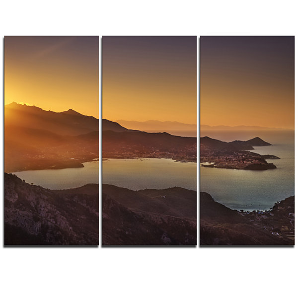 Designart Portoferraio Bay Beach Aerial View ExtraLarge Seashore Triptych Canvas Art
