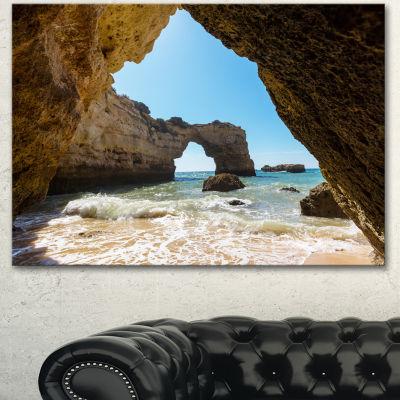 Designart Portugal Coast With Amazing Caves Oversized Landscape Canvas Art - 3 Panels