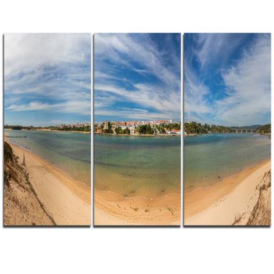 Designart Portuguese Maritime Village Panorama Extra Large Seashore Triptych Canvas Art