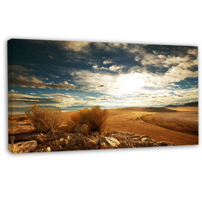 Designart Prairie Under Heavy Clouds Oversized Landscape Canvas Art