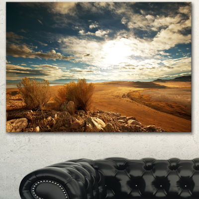 Designart Prairie Under Heavy Clouds Oversized Landscape Canvas Art - 3 Panels