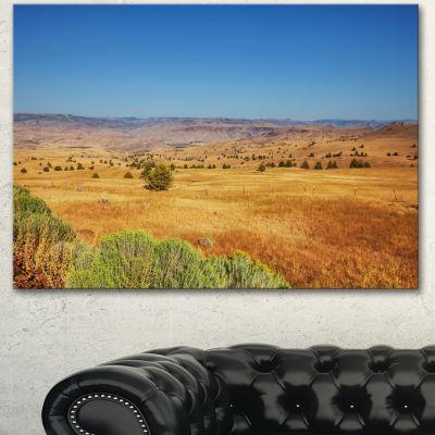 Designart Prairie With Bright Blue Sky Landscape Canvas Art Print