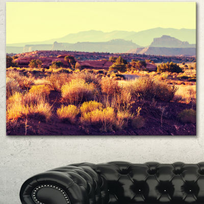 Designart Prairie With Layers Of Mountains Landscape Canvas Art Print