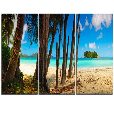 Designart Praslin Island Tropical Beach PanoramaModern Seascape Triptych Canvas Artwork