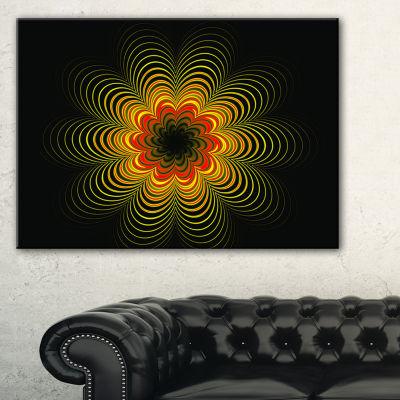 Designart Psychedelic Yellow Fractal Flower FloralCanvas Art Print