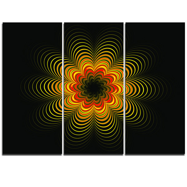 Designart Psychedelic Yellow Fractal Flower FloralTriptych Canvas Art Print