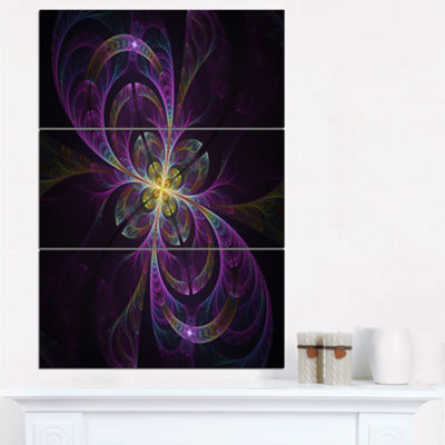 Designart Purple Abstract Floral Shapes Large Floral Wall Art Triptych Canvas