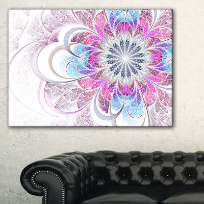 Designart Purple And Blue Large Flower Fractal Floral Canvas Art Print
