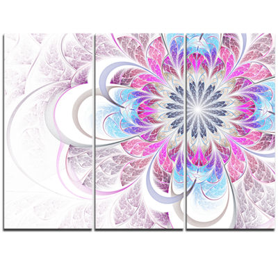 Designart Purple And Blue Large Flower Fractal Floral Triptych Canvas Art Print