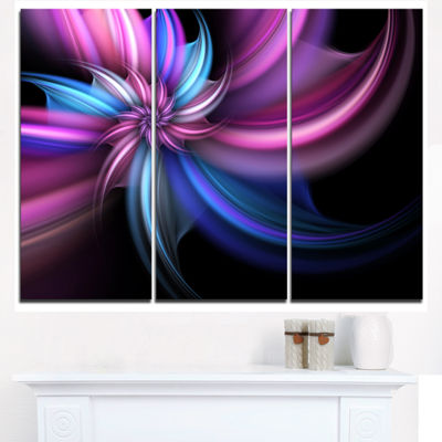 Designart Purple And Blue Psychedelic Flower Floral Art Triptych Canvas Print
