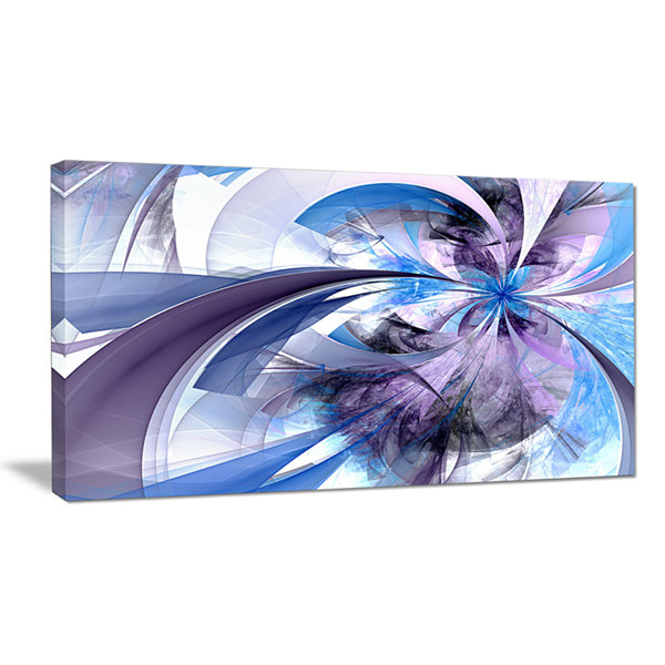 Designart Purple And Blue Symmetrical Fractal Flower Floral Canvas Art Print