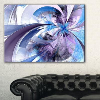 Designart Purple And Blue Symmetrical Fractal Flower Floral Canvas Art Print