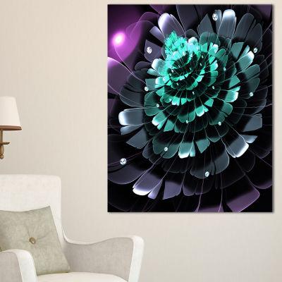 Designart Purple Blue Digital Art Fractal FlowerFloral Canvas Art Print