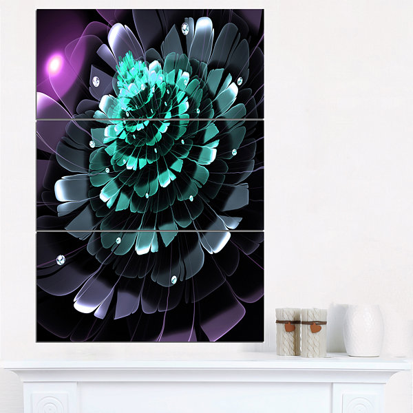 Designart Purple Blue Digital Art Fractal FlowerFloral Triptych Canvas Art Print