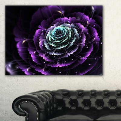 Designart Purple Blue Fractal Flower Digital Art Floral Canvas Art Print