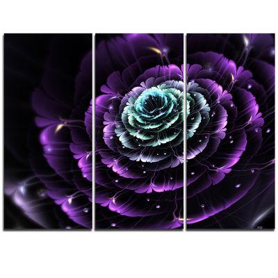 Designart Purple Blue Fractal Flower Digital Art Floral Triptych Canvas Art Print