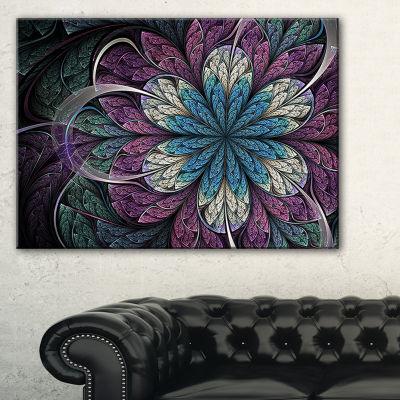 Designart Purple Blue Rounded Fractal Flower Floral Canvas Art Print
