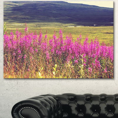 Designart Purple Flowers In Mountain Pasture Floral Canvas Art Print