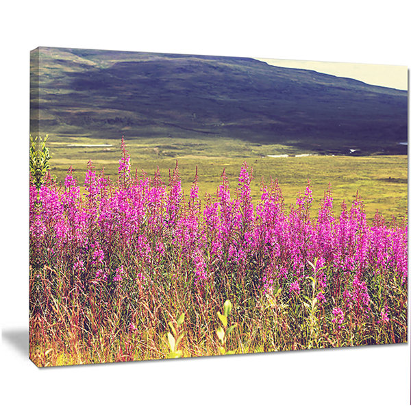 Designart Purple Flowers In Mountain Pasture Floral Canvas Art Print