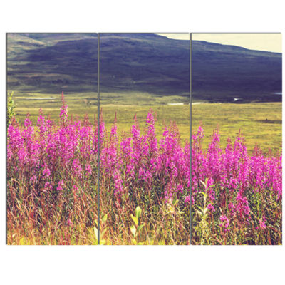 Designart Purple Flowers In Mountain Pasture Floral Canvas Art Print - 3 Panels