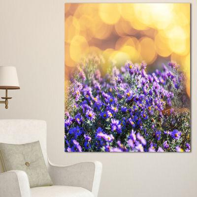 Designart Purple Flowers On Brown Background LargeFlower Canvas Art Print