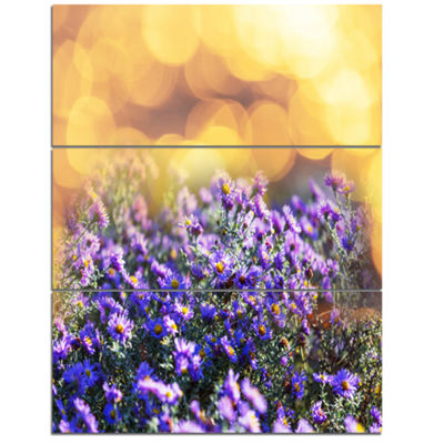 Designart Purple Flowers On Brown Background LargeFlower Canvas Art Print - 3 Panels