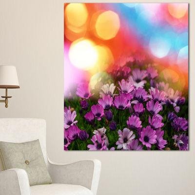 Designart Purple Flowers On Colorful Background Large Flower Canvas Wall Art - 3 Panels