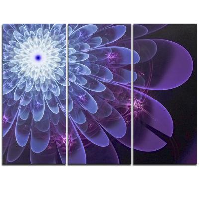 Designart Purple Fractal Flower Petals Close Up Floral Triptych Canvas Art Print