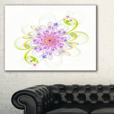 Designart Purple Green Glowing Fractal Flower Floral Canvas Art Print