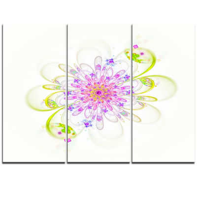 Designart Purple Green Glowing Fractal Flower Floral Triptych Canvas Art Print