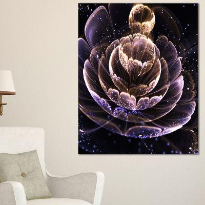 Designart Purple Ideal Fractal Flower With PollenFloral Canvas Art Print